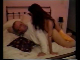 Old man fucks a young beautiful brunette