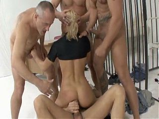 hot slutty cop bitch has a lot of fun with 4 cocks in jail